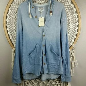 Lucky Brand hooded ombre button down shirt jacket